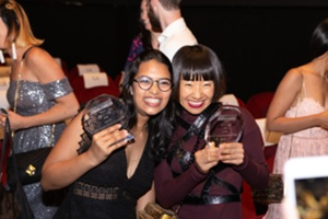 Winners Pooja Sanghvi and Fiona Liu