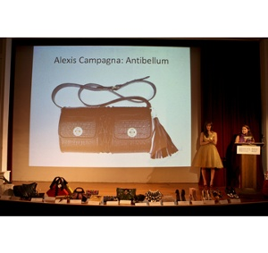 Katie Boertman of Singer  presenting the Winner of the Best Handmade Handbag, Alexis Campagna for Antibellum