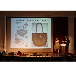 Finalist Michele Gresh of  Modern Unity with her sketch and finished created version with her prize as a finalist to create her bag with <i>Swarovski</i> Crystallized(tm) Elements for free.