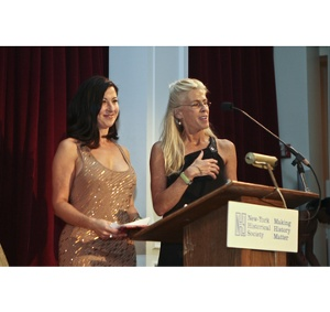 Presenters Tina Aldatz of Foot Petals and Libby Edelman of Sam Edelman presenting the Best Shoe in Overall Style and Design