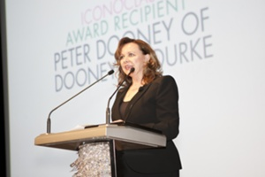 Patti Ongman, Macy's presenting the ICONOCLAST Awards for Lifetime Achievement in Handbag Design to Dooney & Bourke