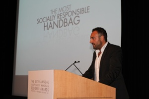 Paolo Fidanza of JP Selects presenting the Most Socially Responsible Handbag