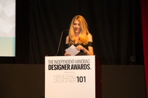 Amy Guitierrez of Bernina announcing Winner of Best Handmade Handbag
